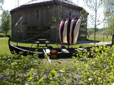 vikingaskepp i gräset
