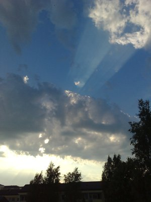 Solen bakom ett moln