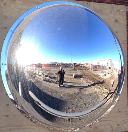 en rund spegel