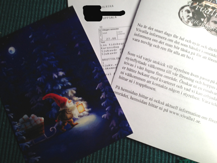 Julkort lönebesked o info från BRF