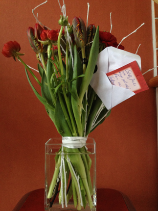 Blommor från jobbet