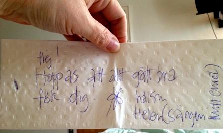 Handtextad lapp från Helen