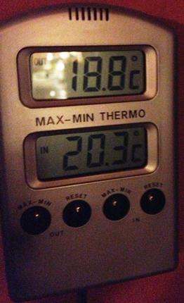 termometer som visar nästan 19 minusgrader