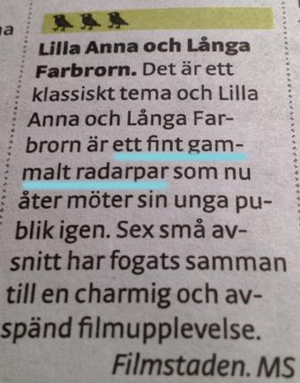 Lilla Anna o Långa Farbrorn radarpar