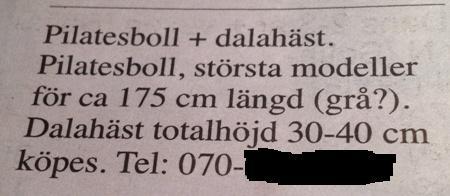 Pilatesboll och dalahäst