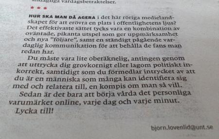 Björn Lövenlid om nätkändisar