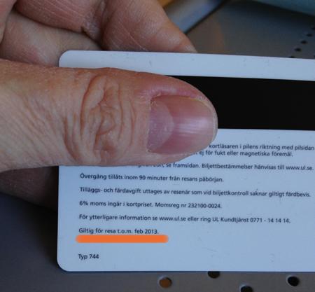 Baksida endagskort UL