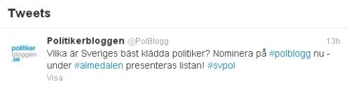 Politikerbloggen tweet