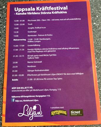 Program Uppsala kräftfestival