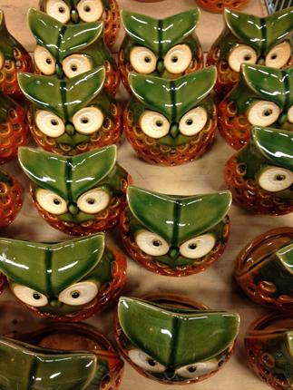 Ugglor i keramik