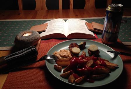 Kalkon och potatisklyftor