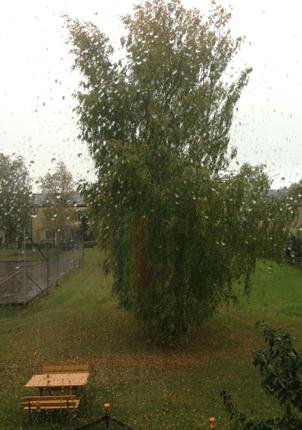 regnet vräker ner