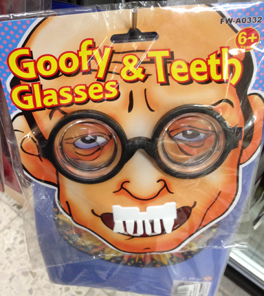Goofy glasses and teeth