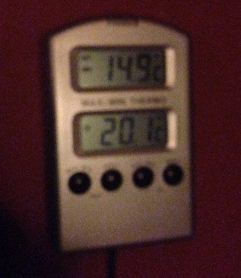 Nästan 15 grader kallt på termometern.