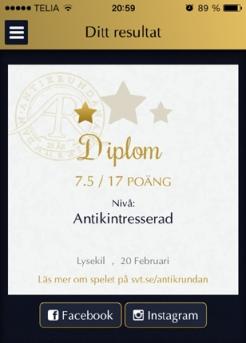 Diplom Antikrundan från Lysekil