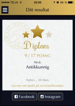 Diplom Antikrundan Nybro 20 mars 2014