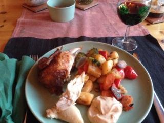 Kyckling grönsaker och sås