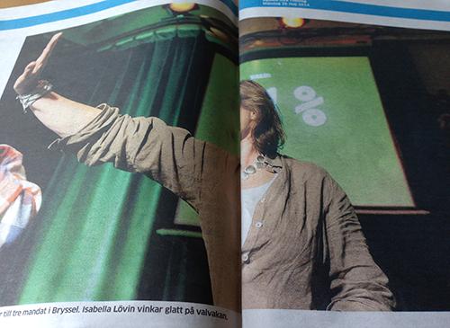 Isabella Lövin utan ansikte i UNT 26 maj 2014