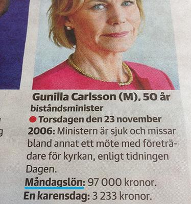Gunilla Carlsson måndagslön