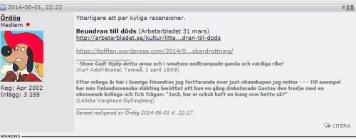Skärmklipp Flashback om min recension av biografin över ML