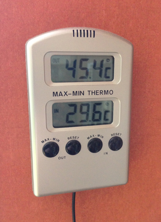 45 och 4 grader utomhus