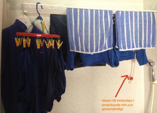 Blå tvätt och hävert