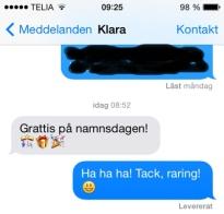 Grattis från Klara