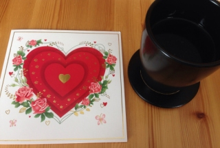 Hjärtekort och kaffe