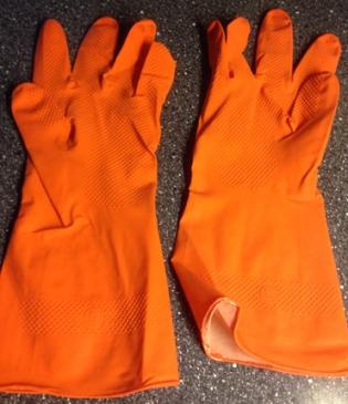Orange gummihandskar