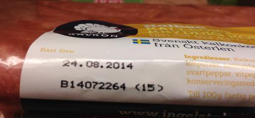 Kalkonsalami med utgånget datum
