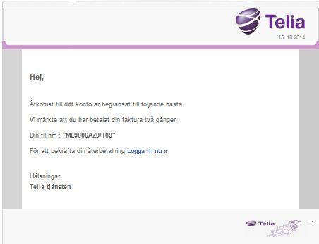 Bluffmejl från Telia
