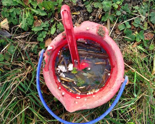 Röd hink med blött innehåll och spade
