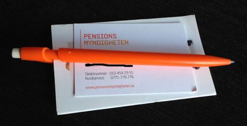 Pensionsmyndigheten visitkort o penna