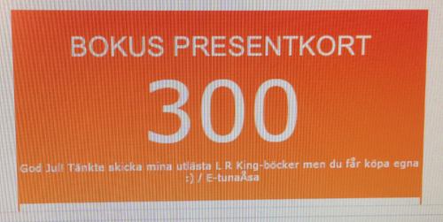 Presentkort på Bokus fr Åsa i Etuna