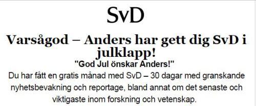 SvD i julklapp fr Anders