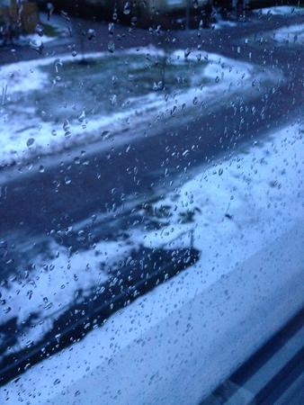 Januariregn på fönstret