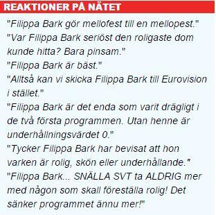 Reaktioner på nätet om Filippa Bark