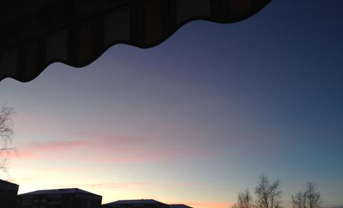 Solnedgång februari 2015 med markis