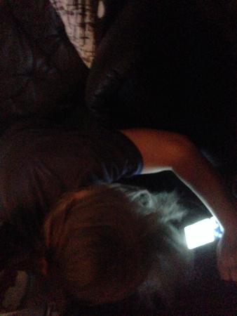 Anna letar efter nåt med ficklampa