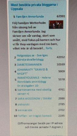 Tionde mest besökt blogg i Uppsala den 15 mars 2015
