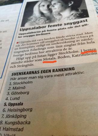 Uppsalabor femte snyggast  i landet