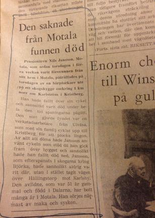 Den saknade från Motala funnen död ÖC 1958