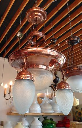 Kopparlampa på Lystra antik