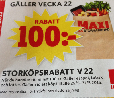 Rabattkupong ICA Maxi Gnista