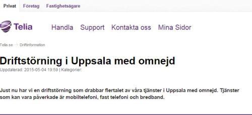 Telia driftstörning i Uppsala med omnejd
