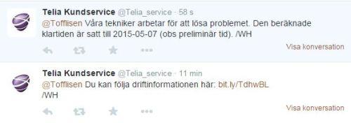 Telia Kundservice svarar på Twitter