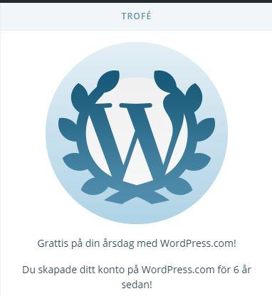 Trofé på sexårsdagen hos WordPress