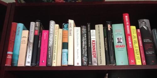 Hyllplan med biografier och självbiografier