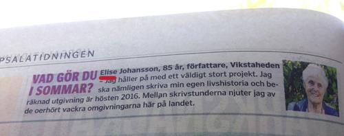 Elsie blev Elise i UppsalaTidningen