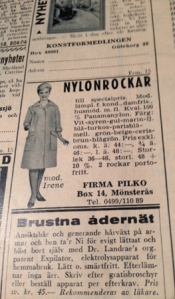 Annonser för nylonrockar o brustna ådernät